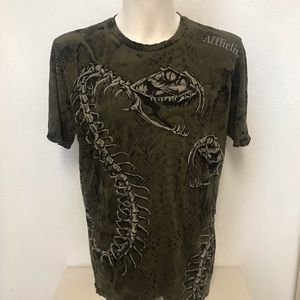 Affliction Snake Skeletal Studded Distressed Shirt